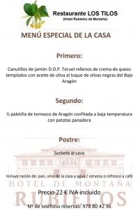 Menú Especial de la Casa - Restaurante Los Tilos